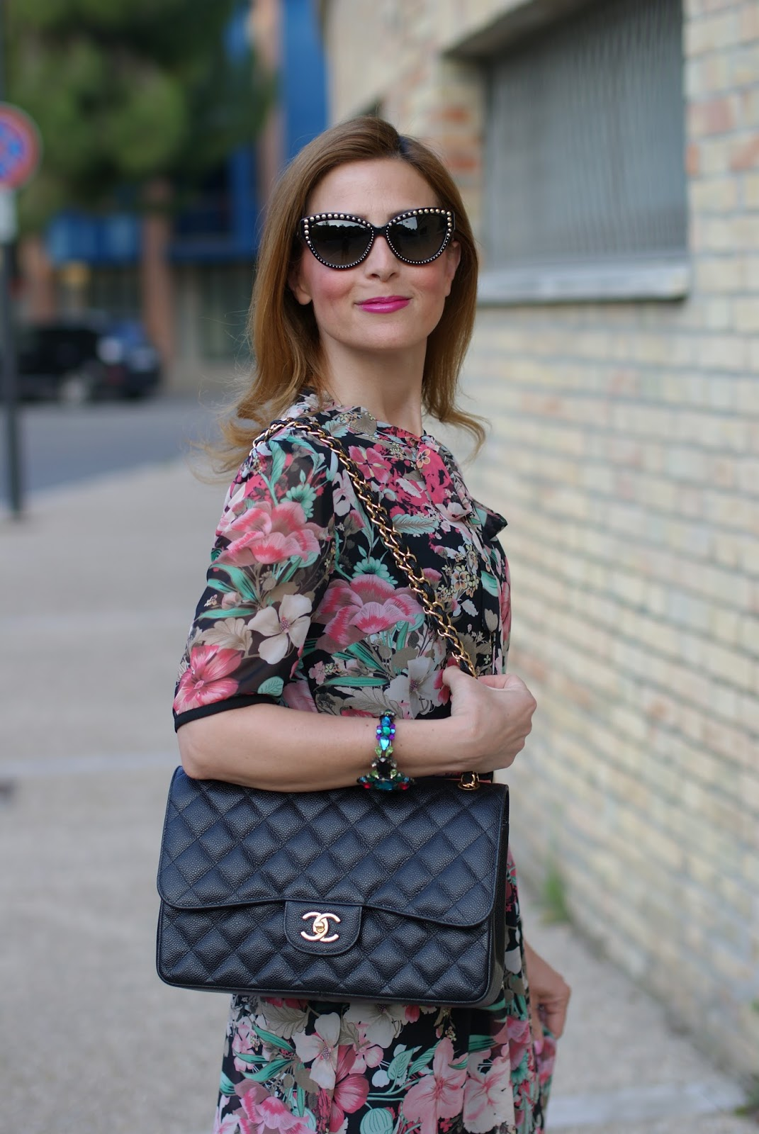 Floral bon ton dress with Chanel 2.55 bag on Fashion and Cookies fashion blog, fashion blogger style