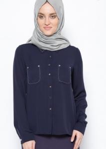Model baju kemeja muslimah trend sekarang