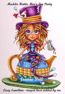 Mattie Hattie Mer's Tea Party coloured - Colour n Cards