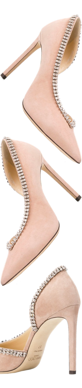 JIMMY CHOO Pink Lilian 100 Crystal Suede Pumps