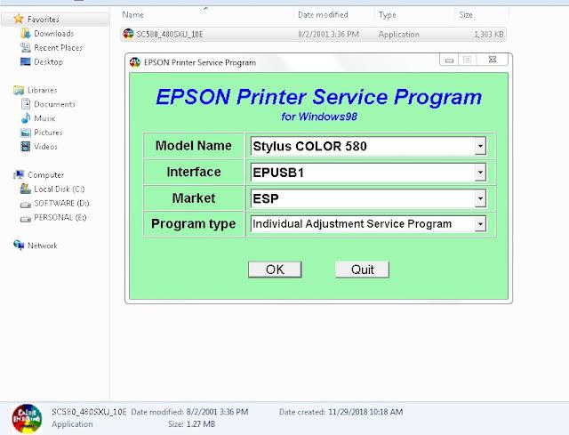 Resetter Epson Stylus Color 580