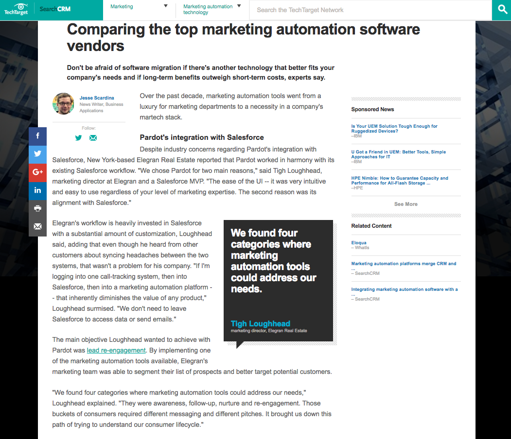 Tigh Loughhead interviewed by TechTarget on top marketing automation vendors
