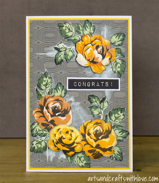 Card with stamped roses in fifties style