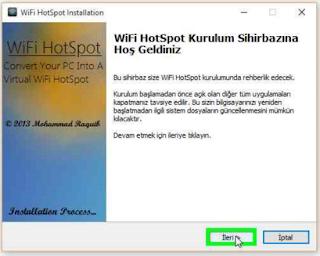 Wifi HotSpot Kurulum Sihirbazına hoş geldiniz