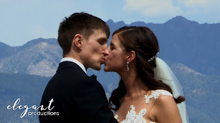 Bride groom kiss Beaver Creek Mountain