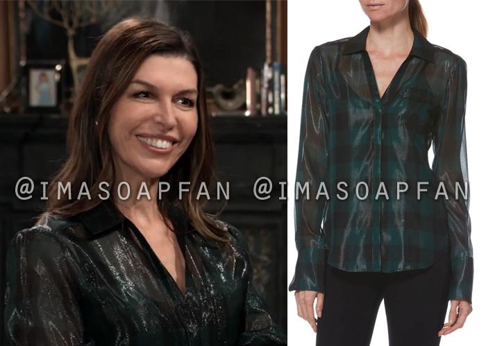 Anna Devane, Finola Hughes, Shimmery Teal Green and Black Plaid Shirt, General Hospital, GH