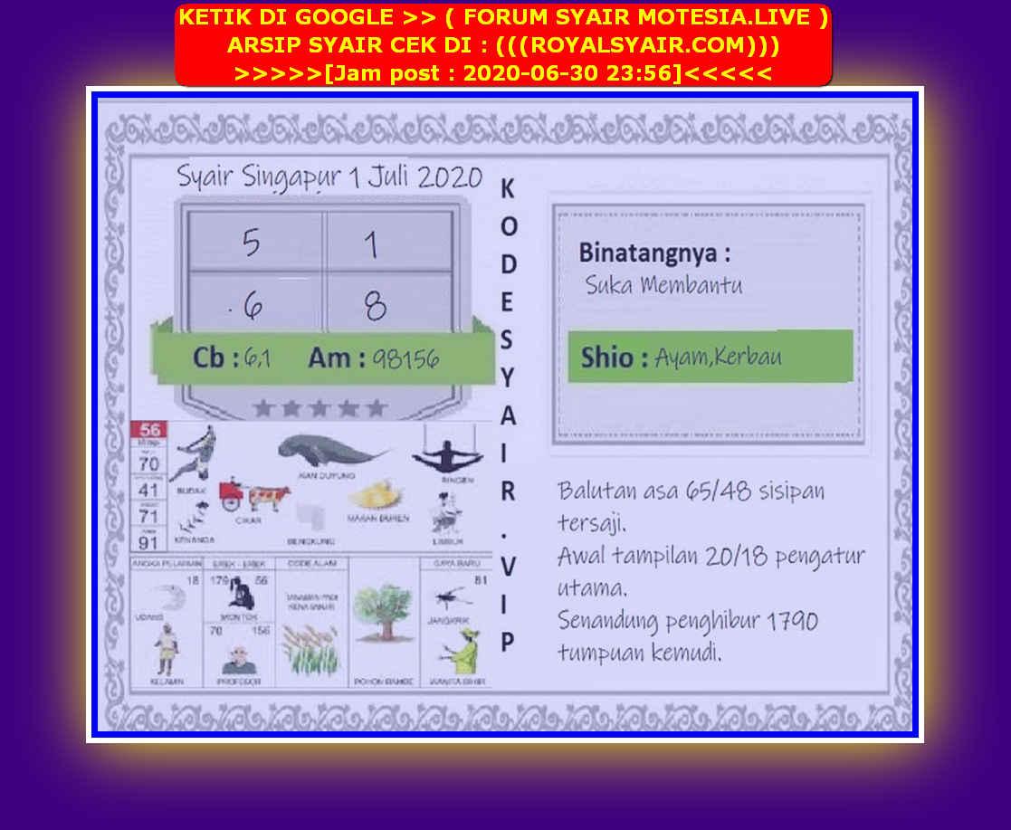 Kode syair Singapore Rabu 1 Juli 2020 261