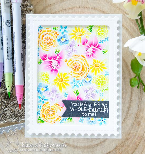 Floral Card by Tatiana Trafimovich| Blooming Botanicals Stamp Set + Framework Die Set by Newton's Nook Designs #newtonsnook