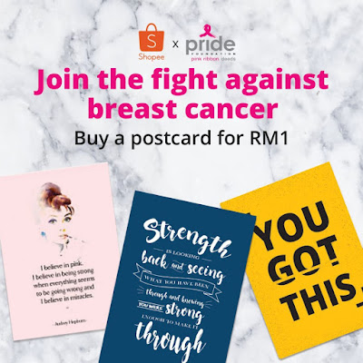 Source: Shopee Malaysia official account. Postcards on sale to raise funds for breast cancer and PRIDE.