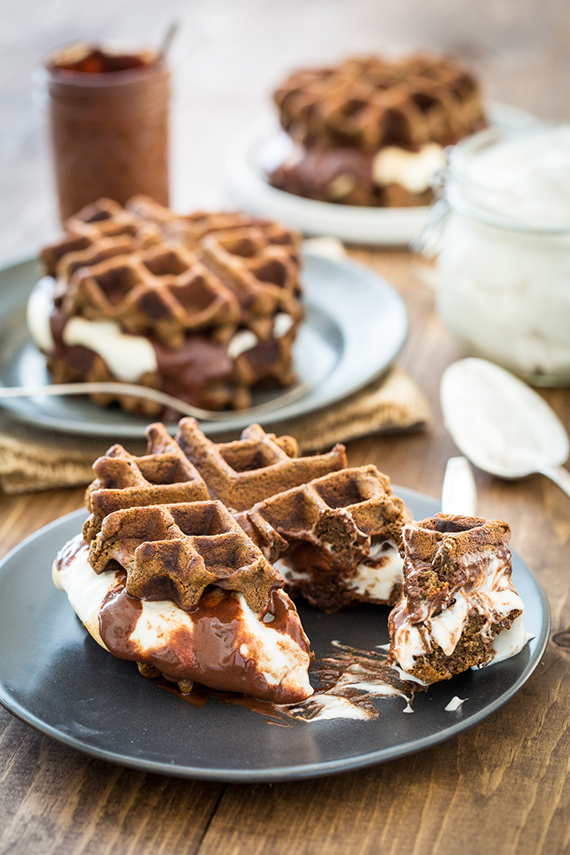 Vegan s'mores waffles with sugar-free marshmallow fluff recipe by Keepin' It Kind