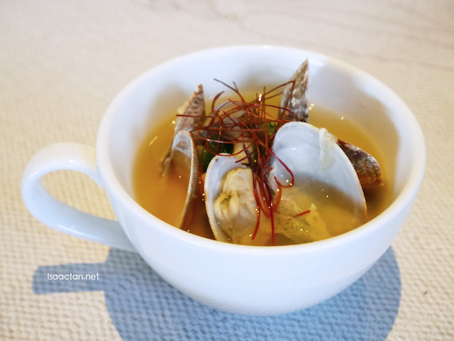Clam Soup - Steamed Eggs with Ohitashi Organic Wasabi Leaf and Asari Shell with Yuzu Orange Flavour