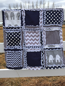 navy blue and gray elephant rag quilt for baby boy crib or toddler bed