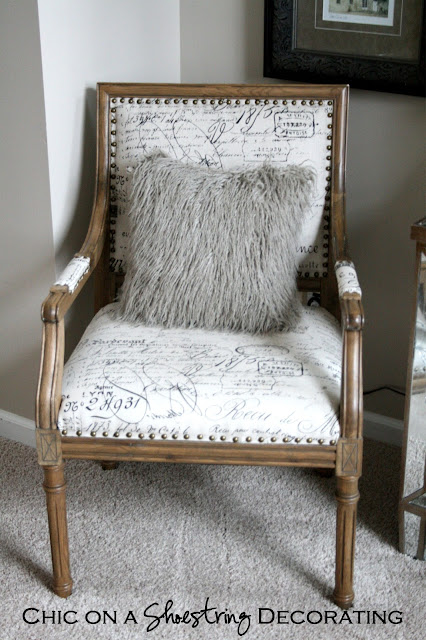 French script occasional chair at Chic on a Shoestring Decorating blog