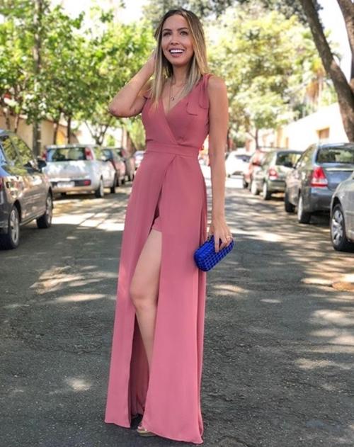 vestido longo rosa blush com fenda