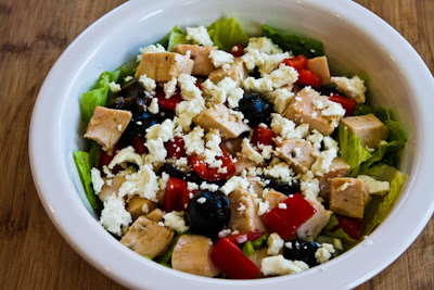 Leftover Chicken Chopped Salad with Red Pepper, Olives, and Feta found on KalynsKitchen.com