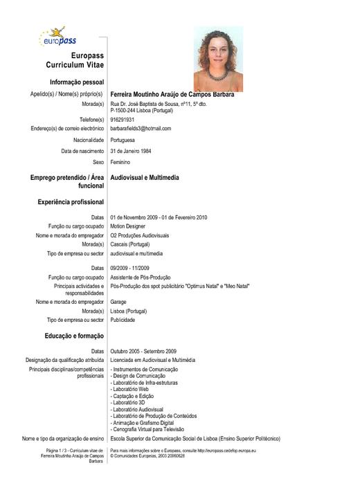 Curriculum vitae - Informacion general y Ejemplos