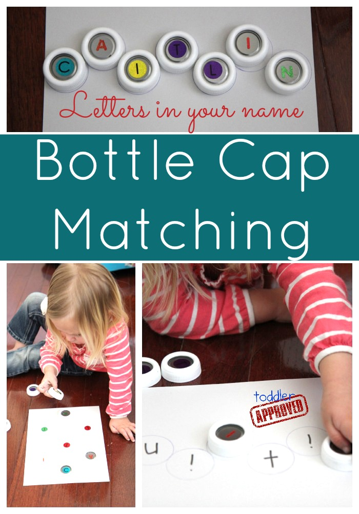 Toddler Approved!: Little Learners: Bottle Cap Name Matching