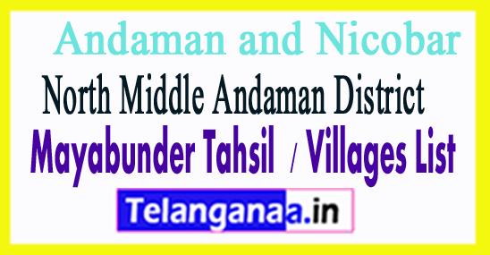 Mayabunder Tahsil Villages Codes  North Middle Andaman District Andaman and Nicobar Islands