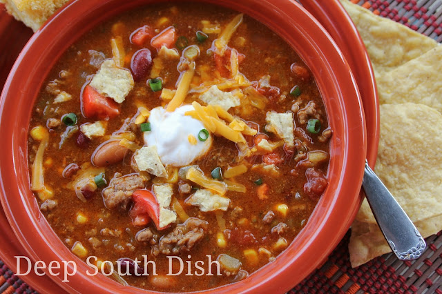 Seven can taco soup is such a quick and easy soup to throw together, with a well stocked pantry you can whip it up in no time and customize it to your own liking.