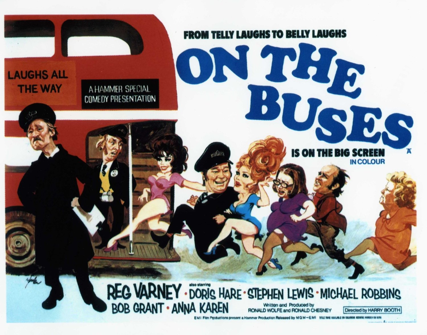 A cartoon poster of the UK comedy series, On the Buses