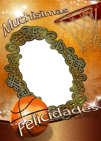 Hermoso marco de felicitaciones inspirado en el Basketball