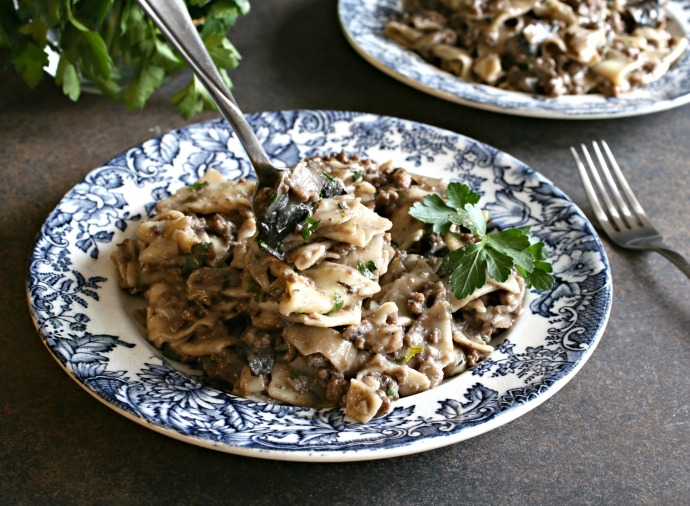 Recipe for a ground beef dish in a mushroom, beef stock and red wine sauce.