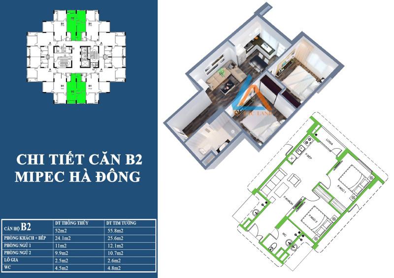 Mặt bằng chi tiết căn hộ 52 m2 tại chung cư Mipec Hà Đông