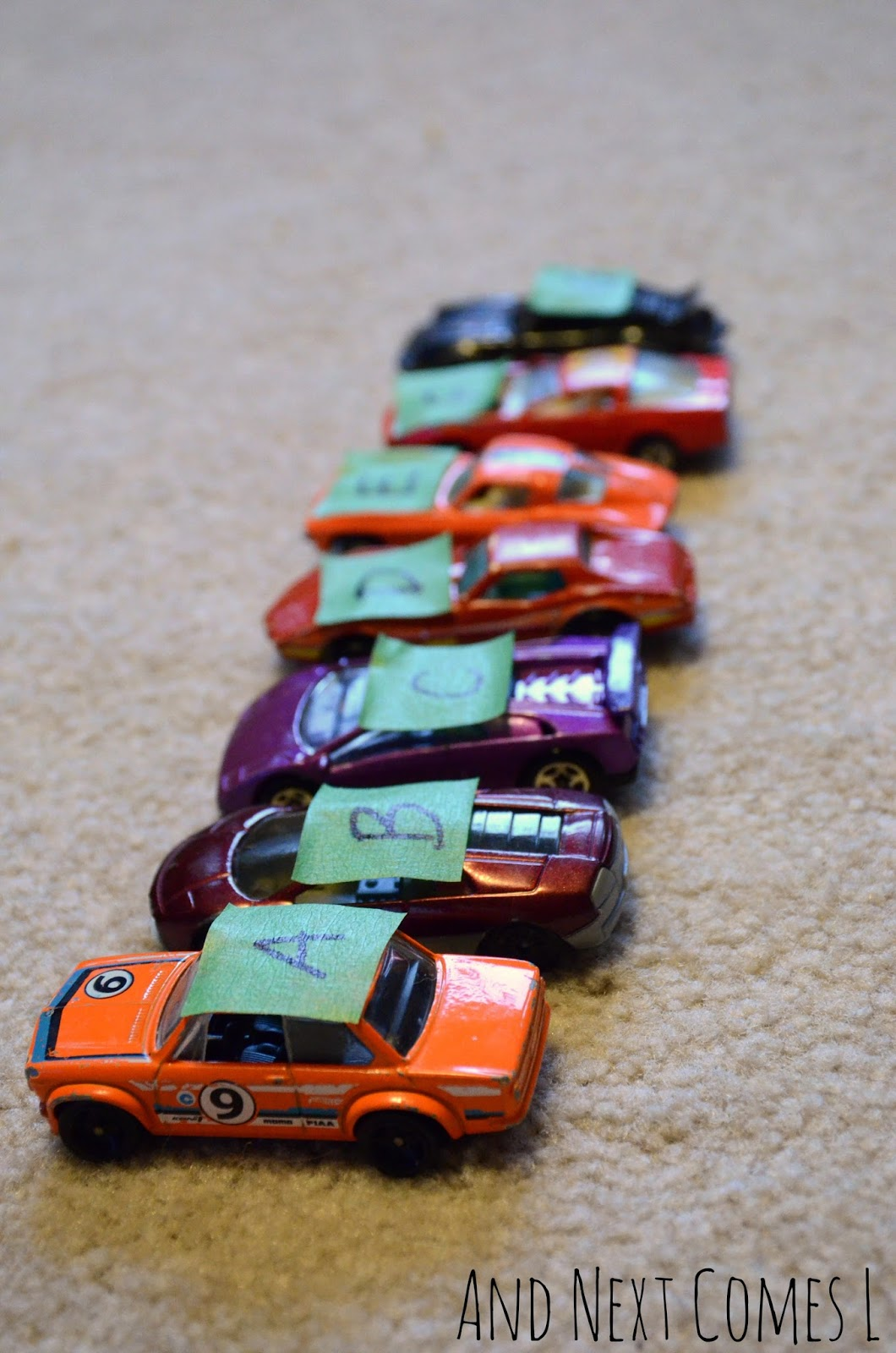 Musical alphabet cars for learning about music theory from And Next Comes L