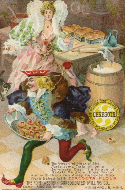 Trade card c.1900s. Verse from Alice in Wonderland. The Queen of Heart runs after the Knave of Hearts. Ad for Ceresota Flour. Jingles and other stories of The American Dream. marchmaton.com