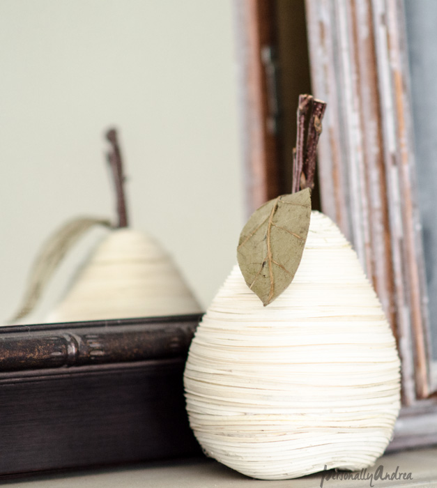 Fall mantel vignette | White raffia pear, distressed frame chalkboard, reflection in mirror | personallyandrea.com