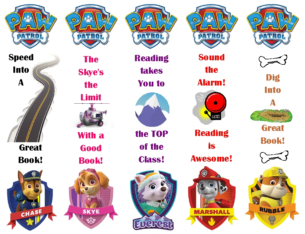 Paw Patrol Bookmarks Printable