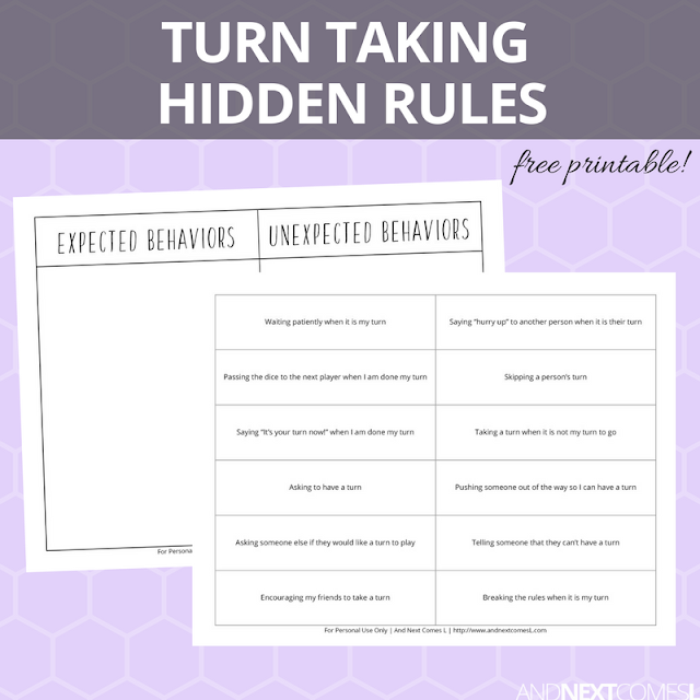 Free hidden rules social skills printable about turn taking from And Next Comes L