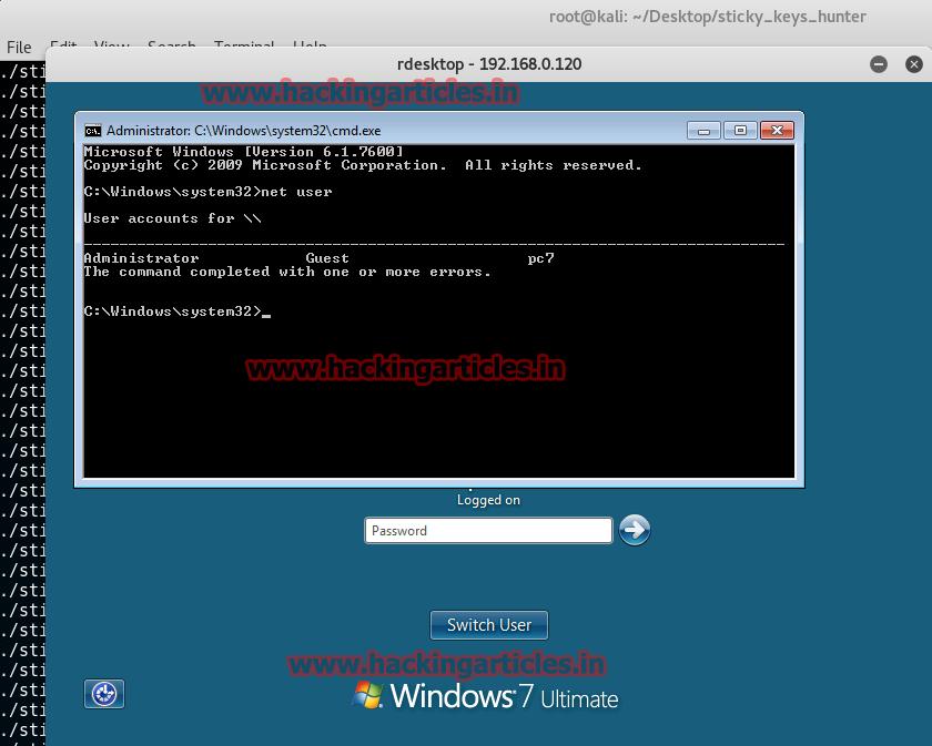 Access Sticky keys Backdoor on Remote PC with Sticky Keys Hunter