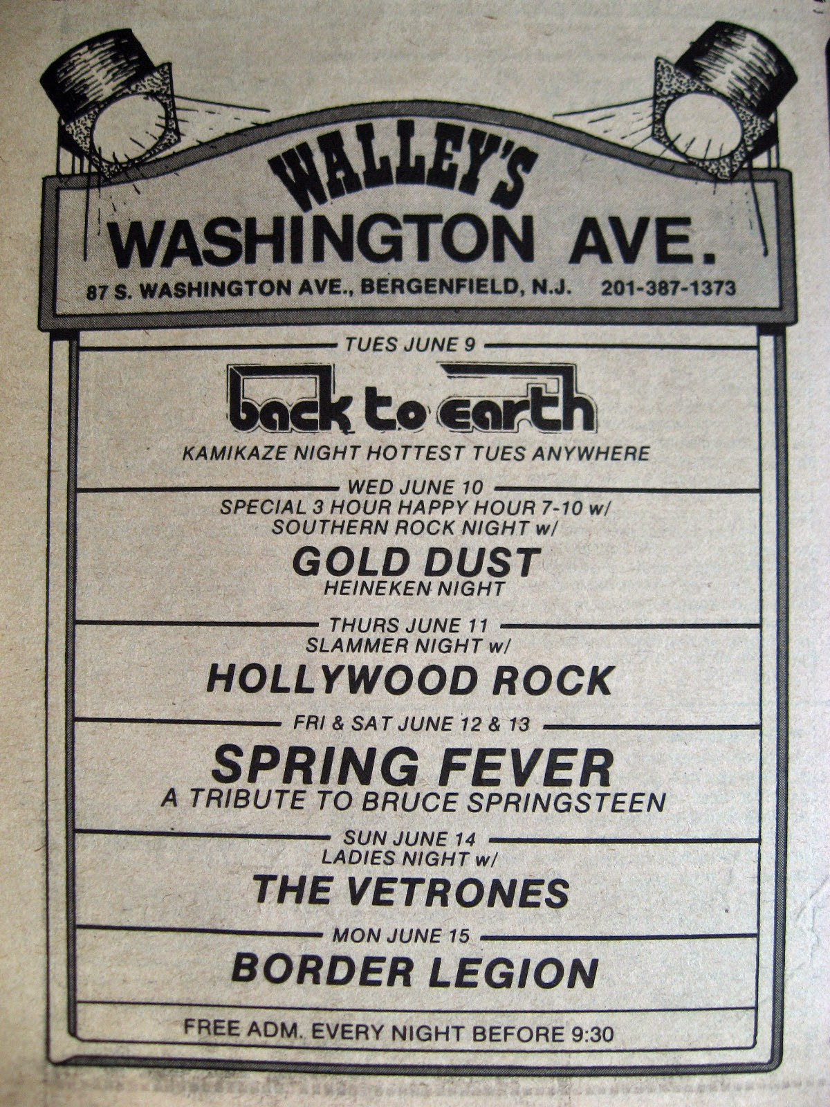 Walley's band line up June 1981