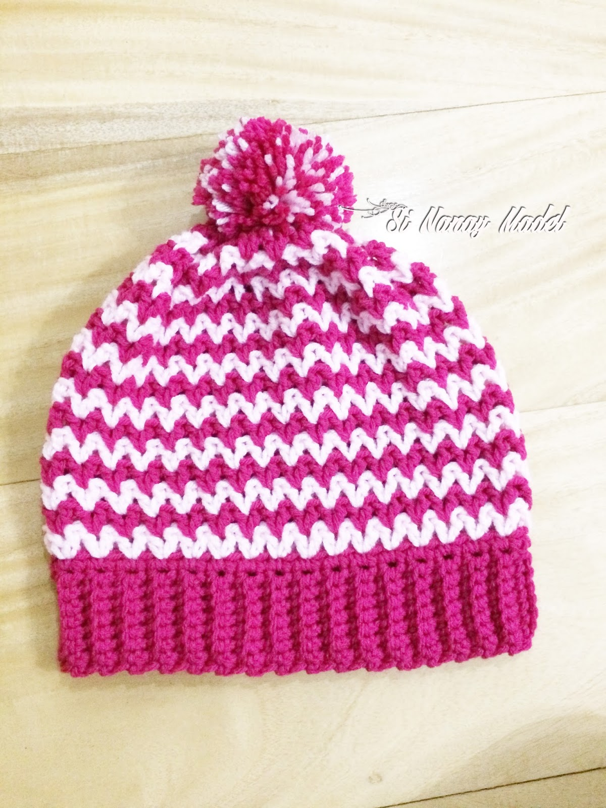 Different Knitting Stitches For Hats : Si Nanay Madel: Easy V-Stitch Hat