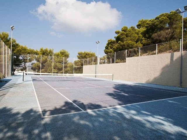 Tennis court in the backyard