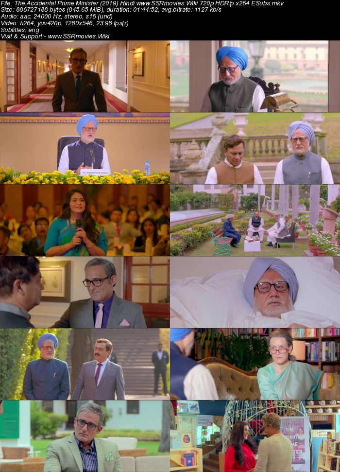 The Accidental Prime Minister (2019) Hindi 480p HDRip 300MB ESubs Movie Download
