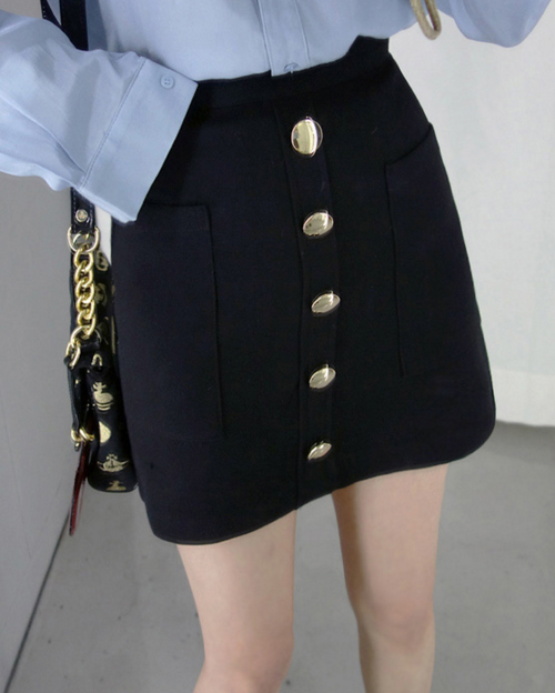 Gold Button Detail Mini Skirt