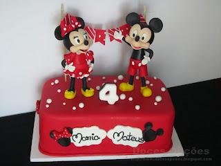 A Minnie e o Mickey no aniversário da Maria e do Mateus