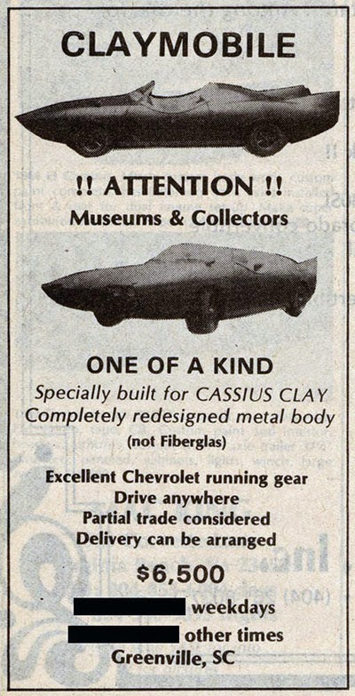 The ad mentioned the Claymobile available fro purchase in South Carolina.