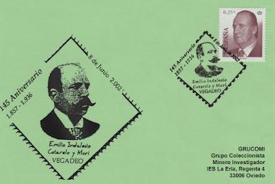 Tarjeta del matasellos del 145 aniversario de Emilio Indalecio Cotarelo y Mori en Vegadeo