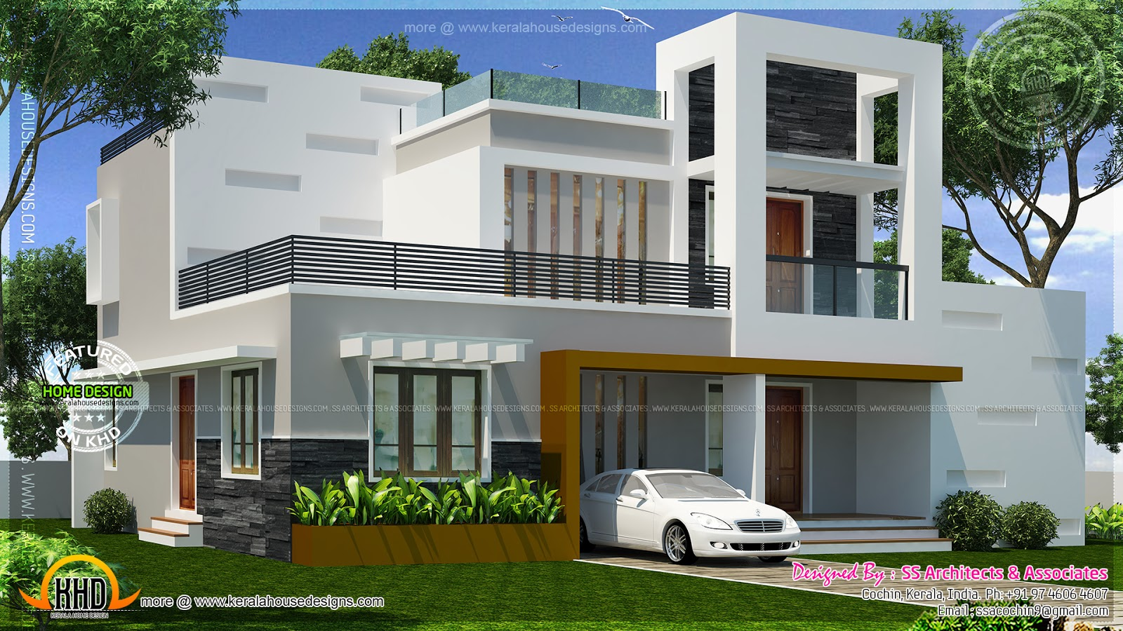 Contemporary double storied small villa kerala home for Small modern house plans two floors