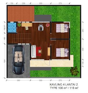 Gambar denah Rumah Griya Permai Sidoarum Kavling 4 Lantai 2
