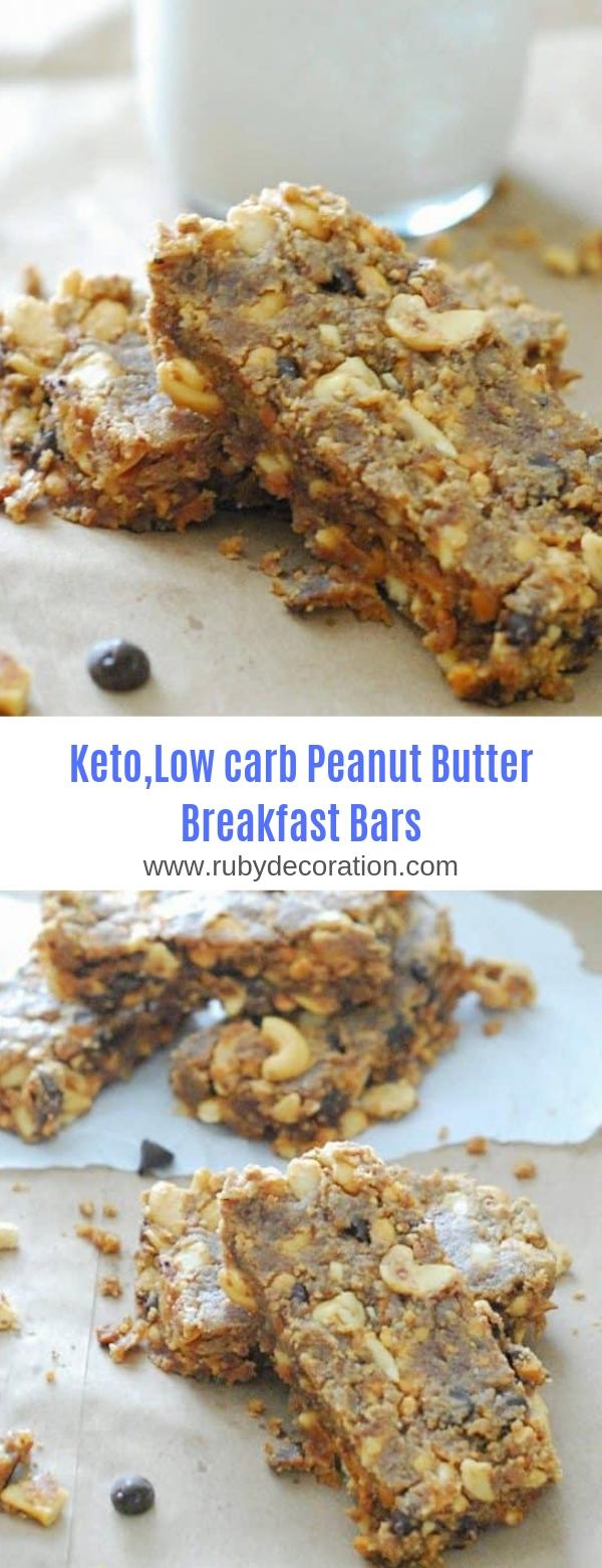 Keto,Low Carb Peanut Butter Breakfast Bars