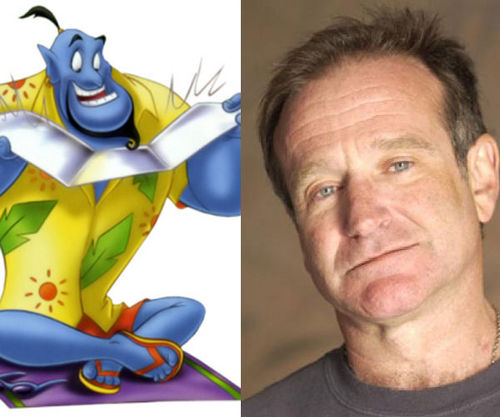 Robin Williams and the genie in Aladdin 1992 //animatedfilmreviews.filminspector.com/2012/12/aladdin-1992-king-of-genies.html