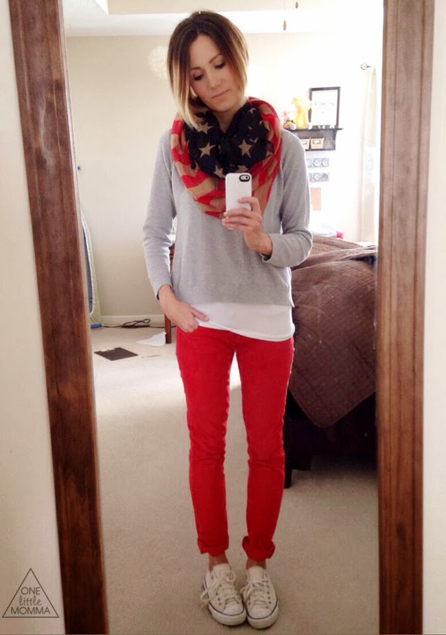 Gray tee, red cords, flag scarf and Converse