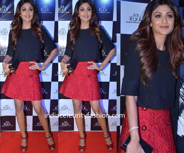 Shilpa Shetty in French Connection and Dolce Gabbana