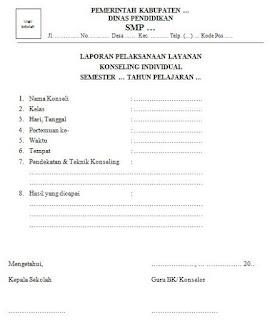 contoh laporan hasil pelaksanaan konseling individual di smp