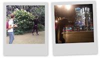 Polaroids dans un parc et devant la maison qui danse (Tancici dum) à Prague en République Tchèque