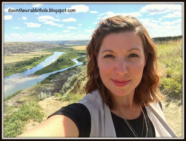 Blog author in front of Orkney Lookout in Drumheller Alberta